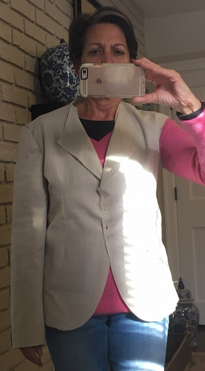 my muslin of tailored jacket pattern Vogue 2986